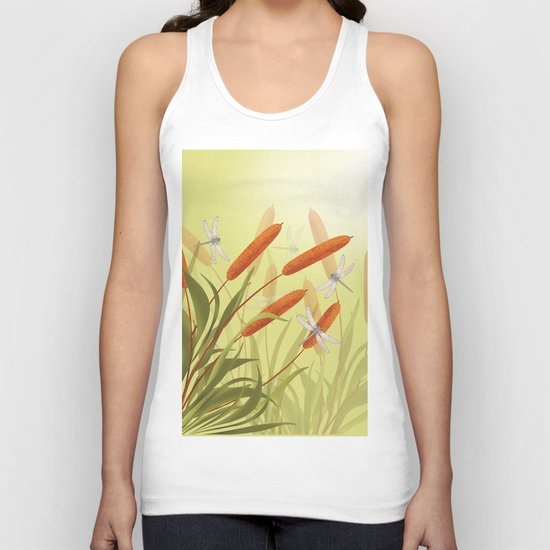 the reeds and dragonflies on the rising sun background Unisex Tank Top