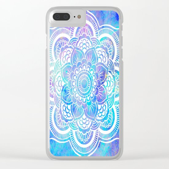 Mandala Pink Lavender Aqua Galaxy Space Clear iPhone Case