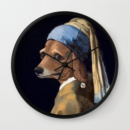 DOG WITH A PEARL EARRING Wall Clock