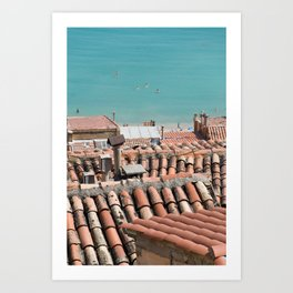 Swimming roofs Art Print