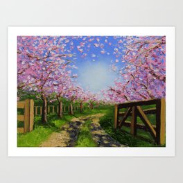 The Bloom Trees, Landscape Painting-Oil on Canvas-Original Art-Impressionism-Impasto-Realistic Art Print