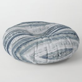 Expressive Indigo Watercolor Stripe Floor Pillow