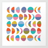 moon phases Art Prints featuring Moon phases by Helene Michau