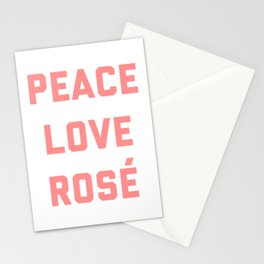 Peace Love Rosé Quote Stationery Cards