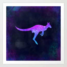 WALLABY IN SPACE // Animal Graphic Art // Watercolor Canvas Painting // Modern Minimal Cute Art Print