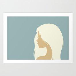 blonde girl in profile Art Print