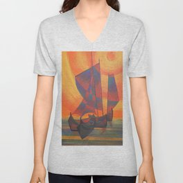 Red Sails in the Sunset Cubist Junk Abstract Unisex V-Neck