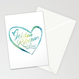 Golden Retriever Luv with Heart in watercolor Stationery Cards