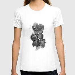 Black Geranium in White T-shirt