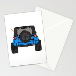 Jeep Wave Back View - Blue Jeep Stationery Cards