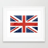 union jack Framed Art Prints featuring Union Jack by Laura Ruth