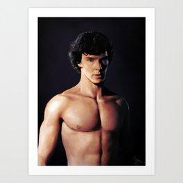 Shirtless Sherlock Art Print