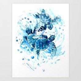 Three Sea Turtles, blue bathroom turtle artwork, Underwater Art Print