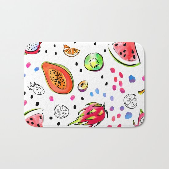 Tropical fruits pattern Bath Mat