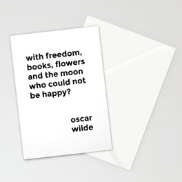 with freedom, books, flowers and the moon Stationery Cards