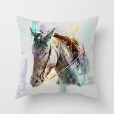 Watercolor Horse Portrait Throw Pillow