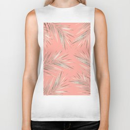White Gold Palm Leaves on Coral Pink Biker Tank