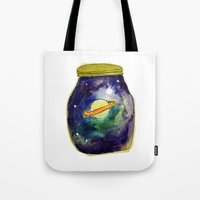saturn Tote Bags featuring Saturn  by Mazz Louise