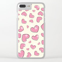 Little hearts in a yellow background Clear iPhone Case