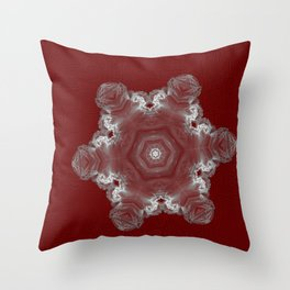 Spectacular fractal snowflake on textured red Throw Pillow