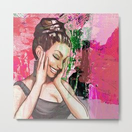 Retro Pinup Girl Laughing & Colorful Abstract Paint Metal Print