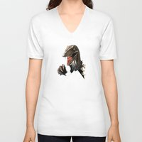 dinosaur V-neck T-shirts featuring dinosaur by Antracit
