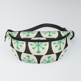 Mid Century Modern Atomic Fusion Pattern 311 Green and Black Fanny Pack