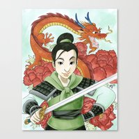 mulan Canvas Prints featuring Mulan by Aimee Steinberger