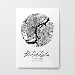 Philadelphia Area City Map, Philadelphia Circle City Maps Print, Philadelphia Black Water City Maps Metal Print
