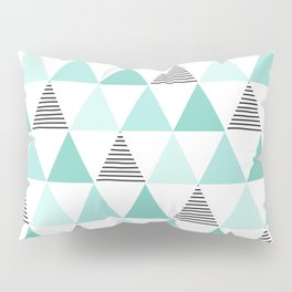 Black Stripes and Mint Triangles Pillow Sham