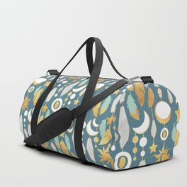 Bohemian spirit // dark turquoise background Duffle Bag