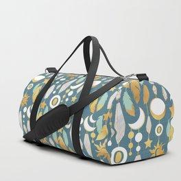 Bohemian spirit // dark turquoise background Duffle Bag