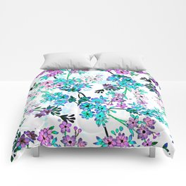 Turquoise Lavender Floral Comforters