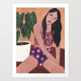 Sitting on the floor Art Print
