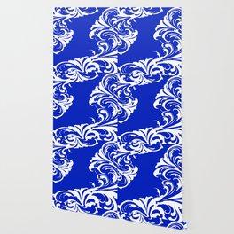 Damask Blue and White Victorian Swirl Damask Pattern Wallpaper