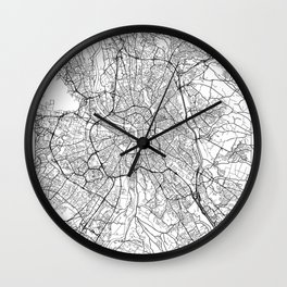 Toulouse Map White Wall Clock