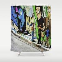 street art Shower Curtains featuring Street Art. by Alejandra Triana Muñoz (Alejandra Sweet
