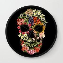Floral Skull Vintage Black Wall Clock