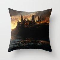 dumbledore Throw Pillows featuring Harry Potter - Hogwart's Burning by Juniper Vinetree