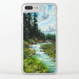 Forest River Original Oil Painting Clear iPhone Case