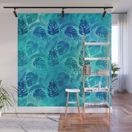 Iridescent Tropical Leaves in Aqua and Turquoise Wall Mural