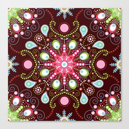 Pointillism mandala   Brown, red and green Canvas Print