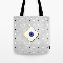 Mati Evil eye protection floral pattern on white Tote Bag