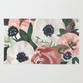 Anemone Berry Watercolor Bouquet Rug