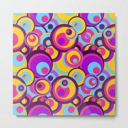 Retro Circles Groovy Colors Metal Print