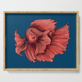 Coral Siamese fighting fish Serving Tray