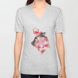 Watercolor Pink Black Flow   [dec-connect] 13. aim Unisex V-Neck