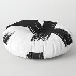 Black Abstract Brush Strokes nr 1 Floor Pillow
