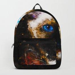 holy birma cat blue eyes splatter watercolor Backpack