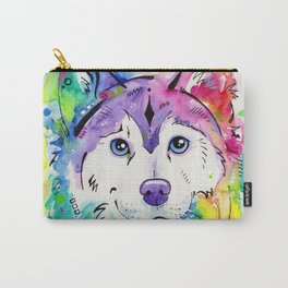Happy - Siberian Husky Watercolor Art Carry-All Pouch